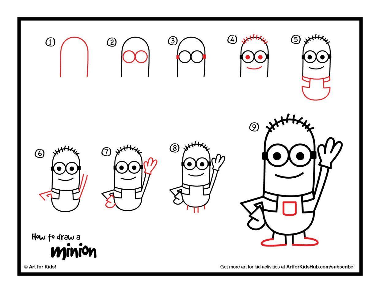 how to draw a minion art for kids hub doodles minion art