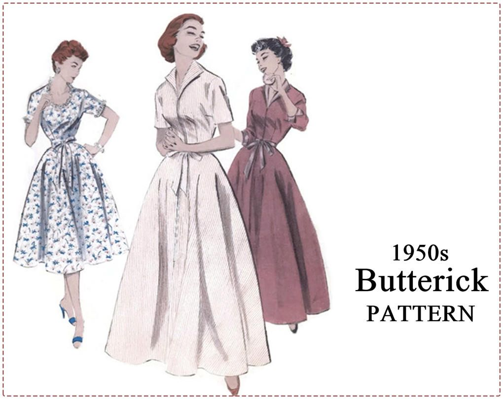 1950s coachman robe sewing pattern butterick 7053 misses robe 1950s coachman robe sewing pattern butterick 7053 misses robe housecoat brunch coat jeuxipadfo Gallery