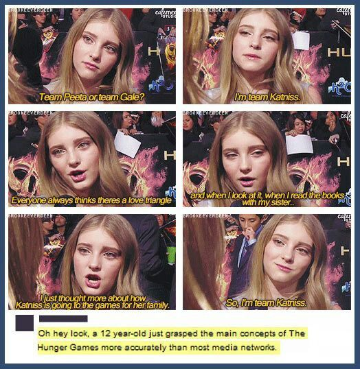 Hunger games- I posted this but I also am pretty sure willow shields is 14 not twelve......comment if you found evidence