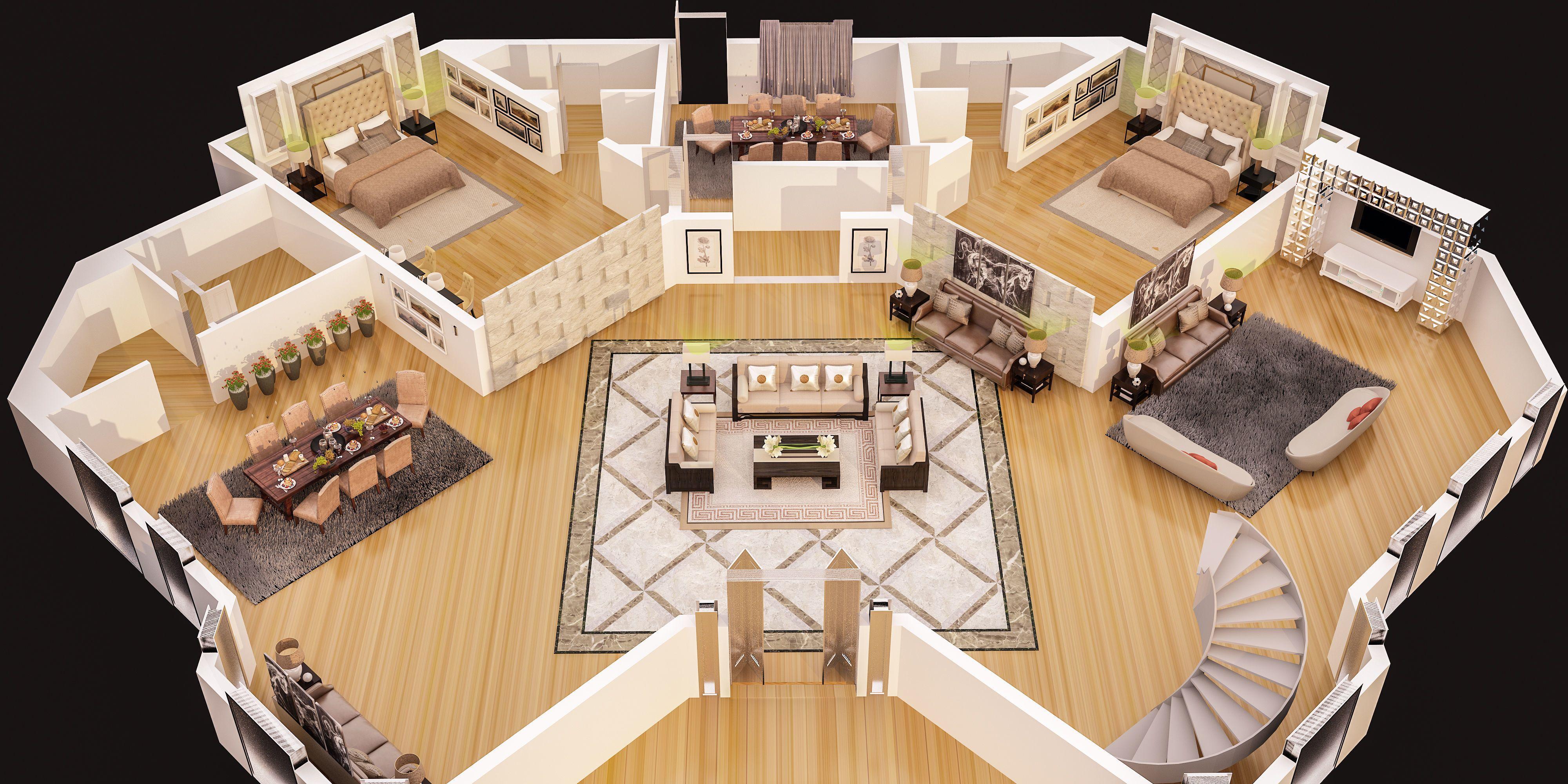 3d Floor Plan Of Luxury House Ground Floor 3d Model Floor