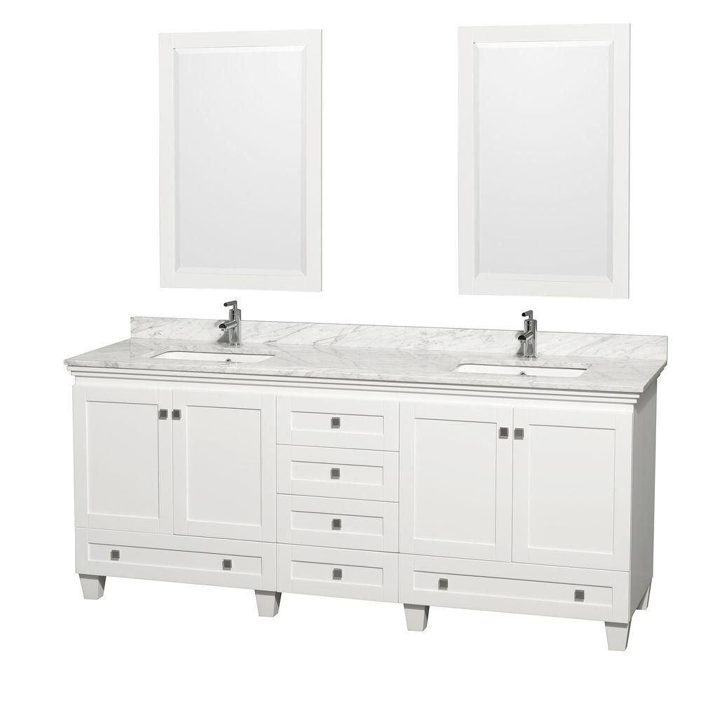 Acclaim 80 Inch W 6 Drawer 4 Door Vanity In White With Marble Top