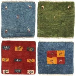 Gabbeh Persisch Paket aus 4 Teppich 40x40 Persischer, Quadratisch Teppich