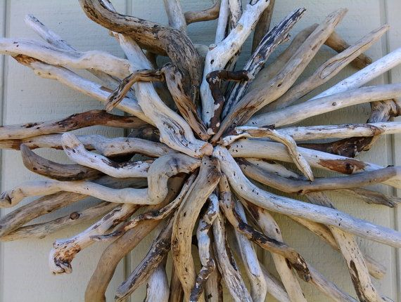 Driftwood Wall Hanging Driftwood Art Sculpture Beach Wall Decor Round Wood Wall  Hanging Hand Made Coastal