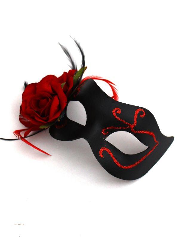 Red-Black-Gothic-Rose-Venetian-Mask