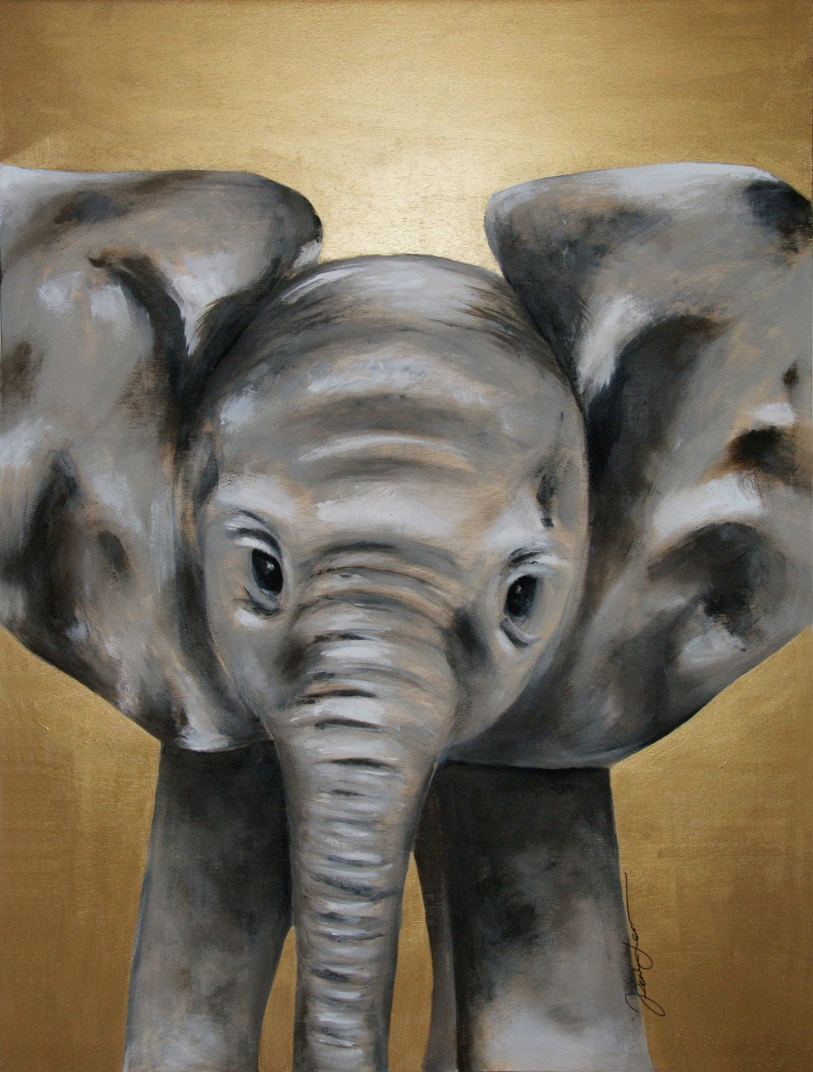 MADE TO ORDER Baby Elephant Acrylic Painting On Wood Original By Renee W Levin