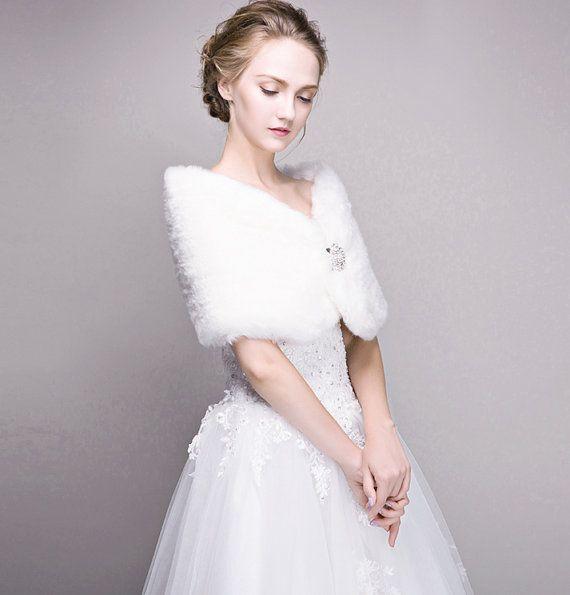 Bridal Pelz Stola Elfenbein Faux Pelz Schal von Carrollbridal ...