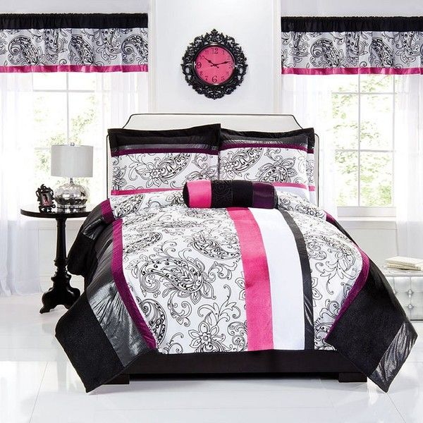 Seventeen Zoe Comforter Set, Pink ($100) ❤ liked on Polyvore featuring home, bed & bath, bedding, comforters, pink, twin comforter sets, pink queen comforter, queen comforter, queen bedding and floral comforter sets