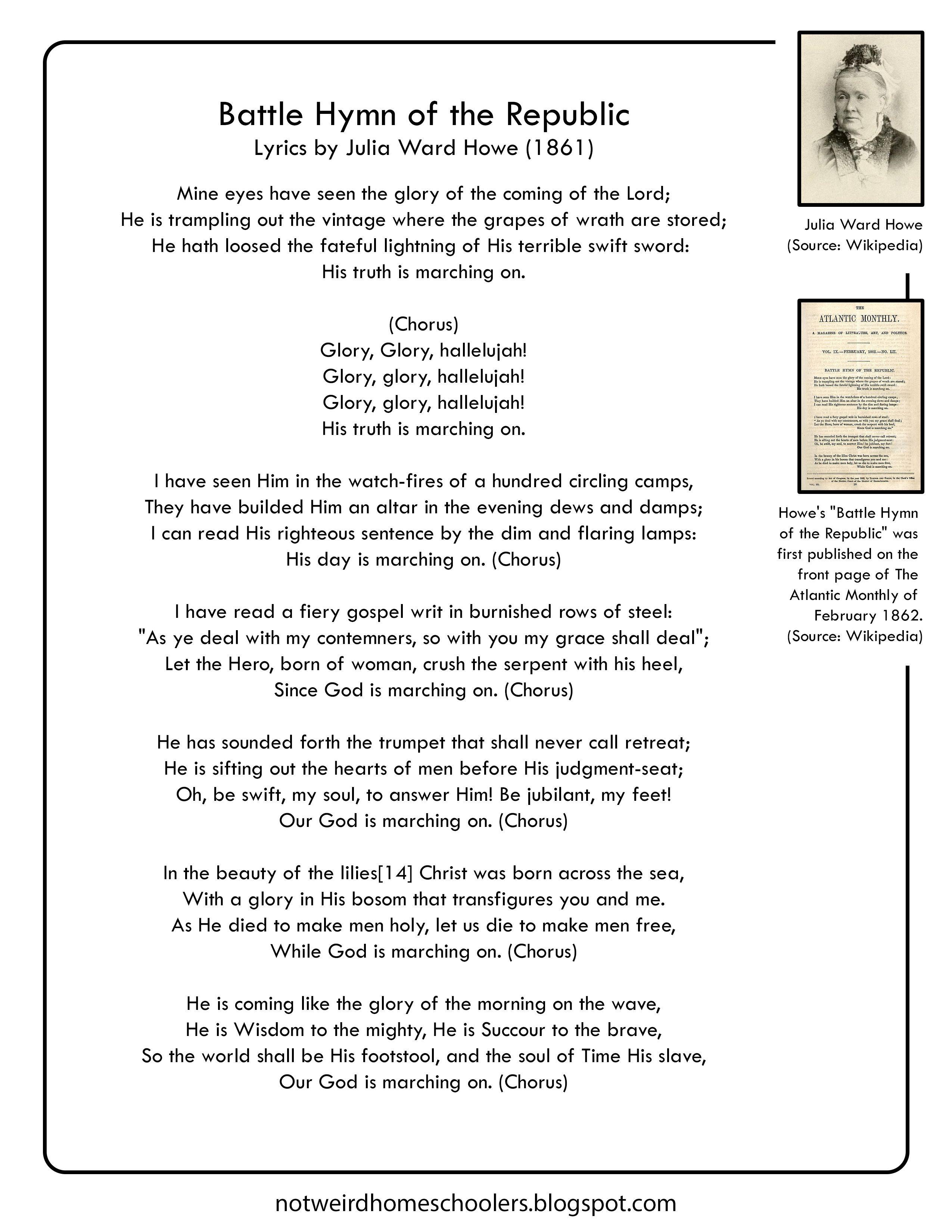 The Battle Hymn Of The Republic By Julia Ward Howe