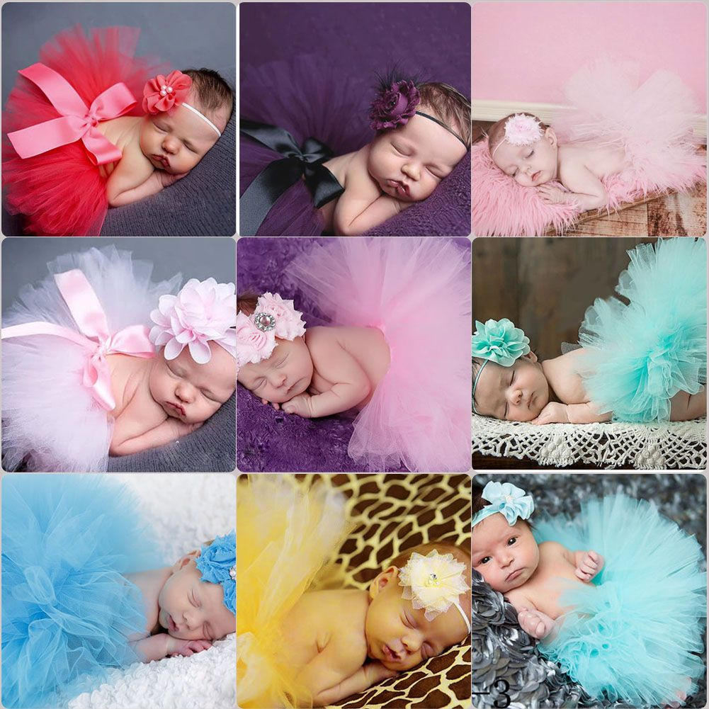 2Pcs Baby Infant Newborn Girl Tutu Skirt Hairband Photo Photography Prop Outfits