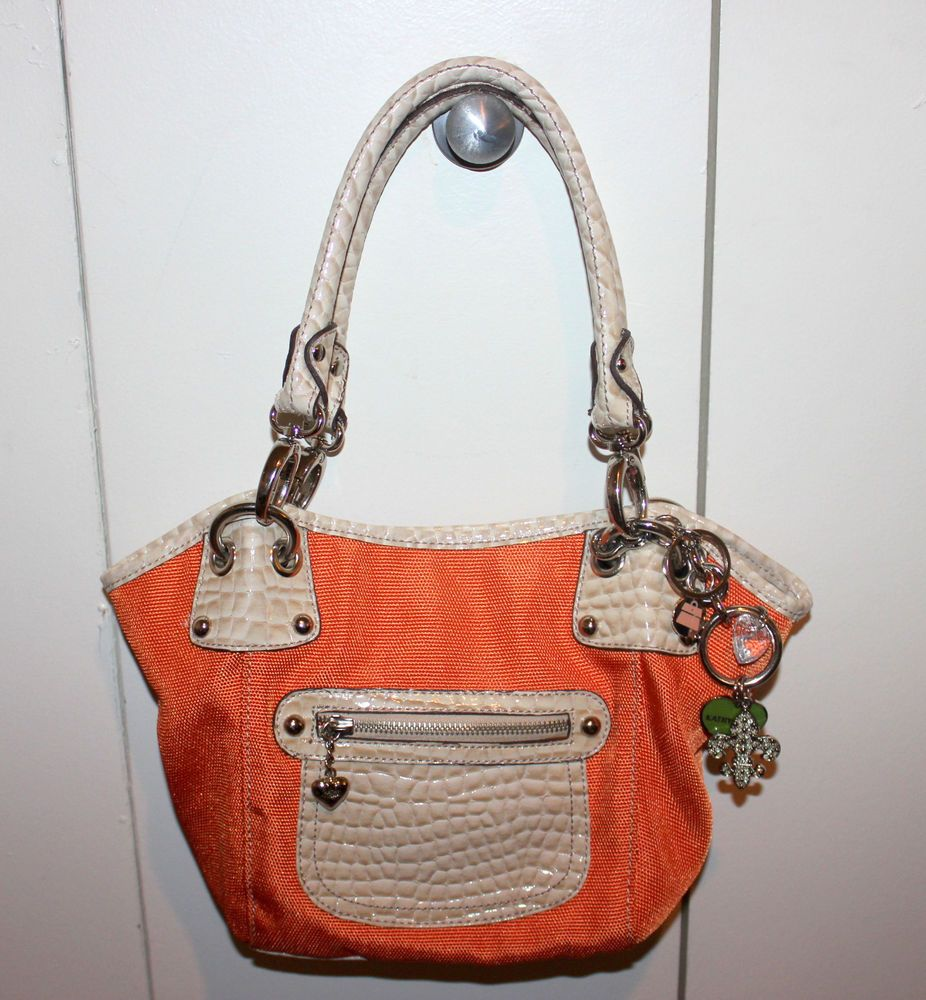 KATHY VAN ZEELAND  Bright Orange Shoulder Bag Purse with hanging key ring bauble #KathyVanZeeland #ShoulderBag