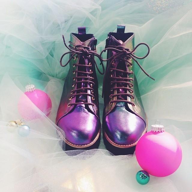 Miista X UO Metallic Lace-Up Boot