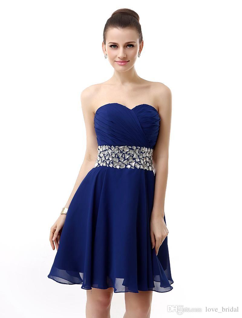 Vestidos de fiesta azul noche corto