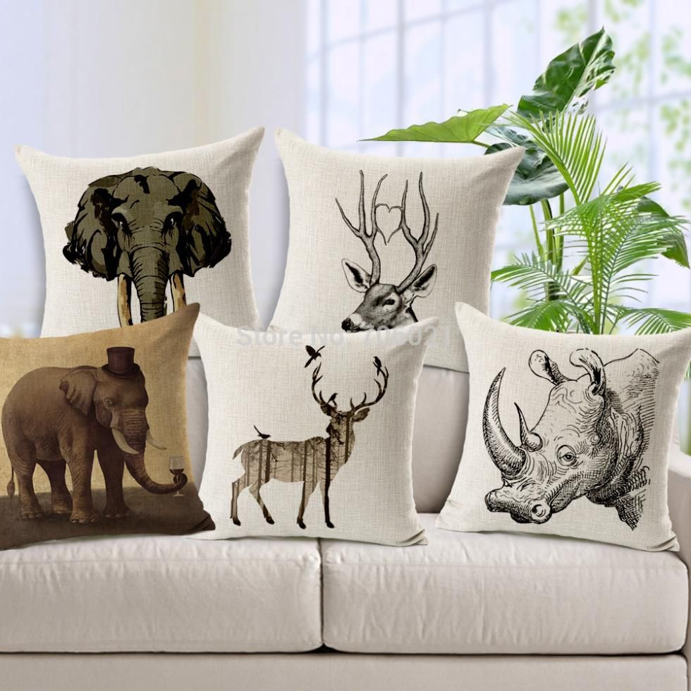 pas cher europ enne ikea linge oreiller cerfs coussins rhinoc ros coussin vert coussin. Black Bedroom Furniture Sets. Home Design Ideas