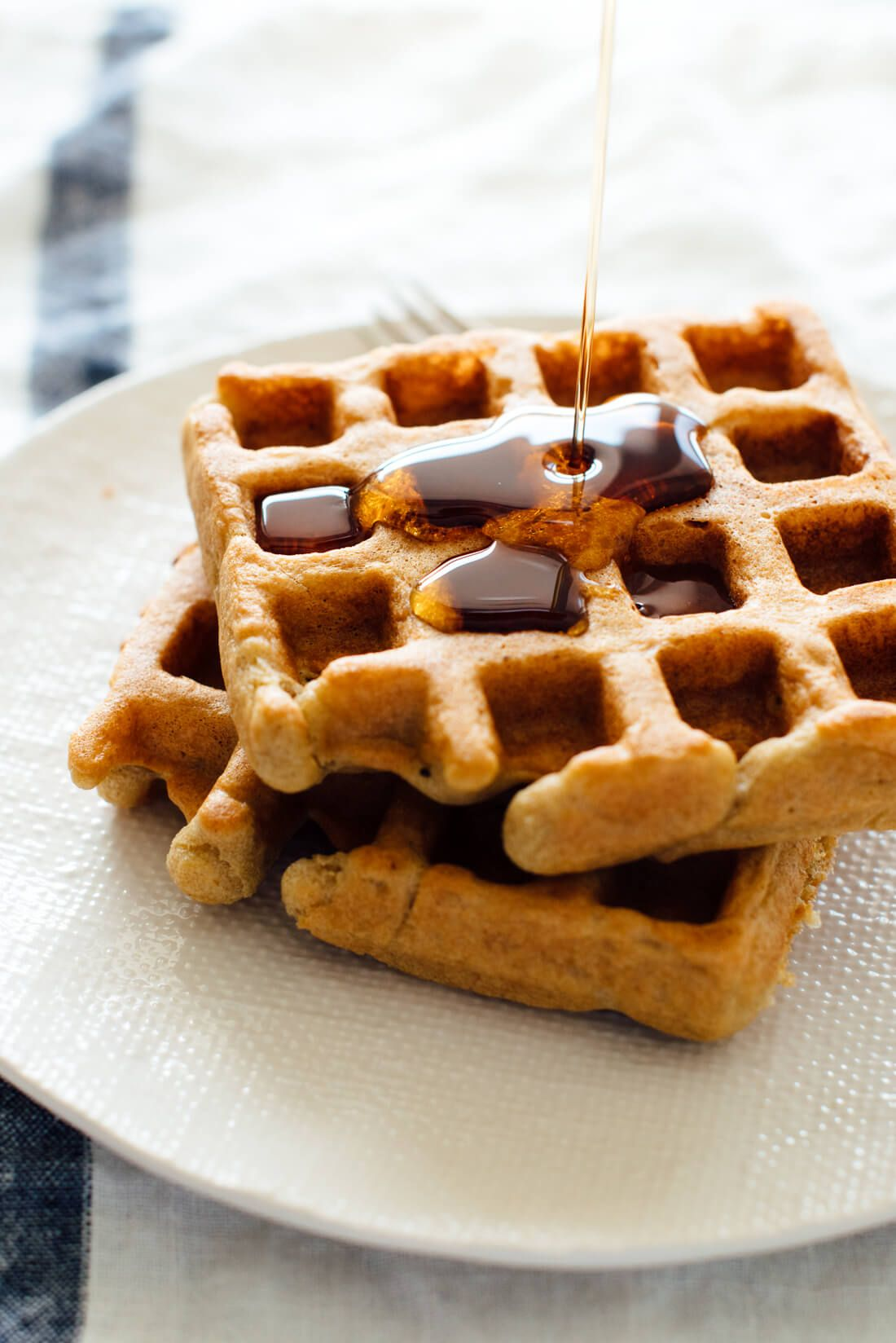 These gluten-free waffles are made with just one flour—oat flour! They\'re light, crispy on the outside, fluffy on the inside. Best waffles ever!