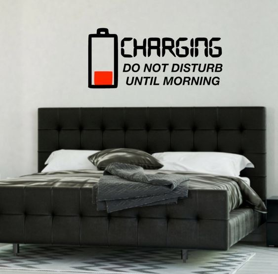 Photo of Charging do not disturb until morning, wall vinyl decal sticker, funny boy bedroom vinyl wall decal, battery charging headboard wall decal