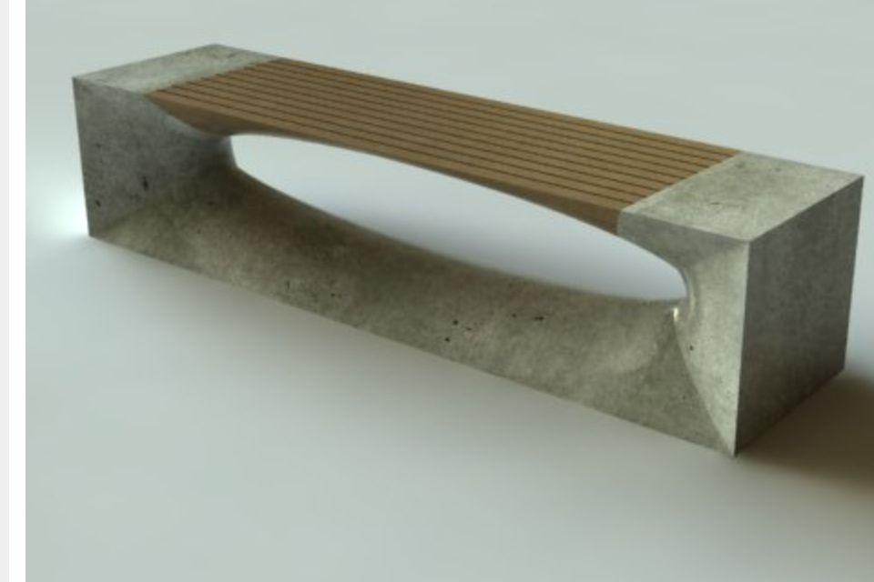 Concrete & teak bench.