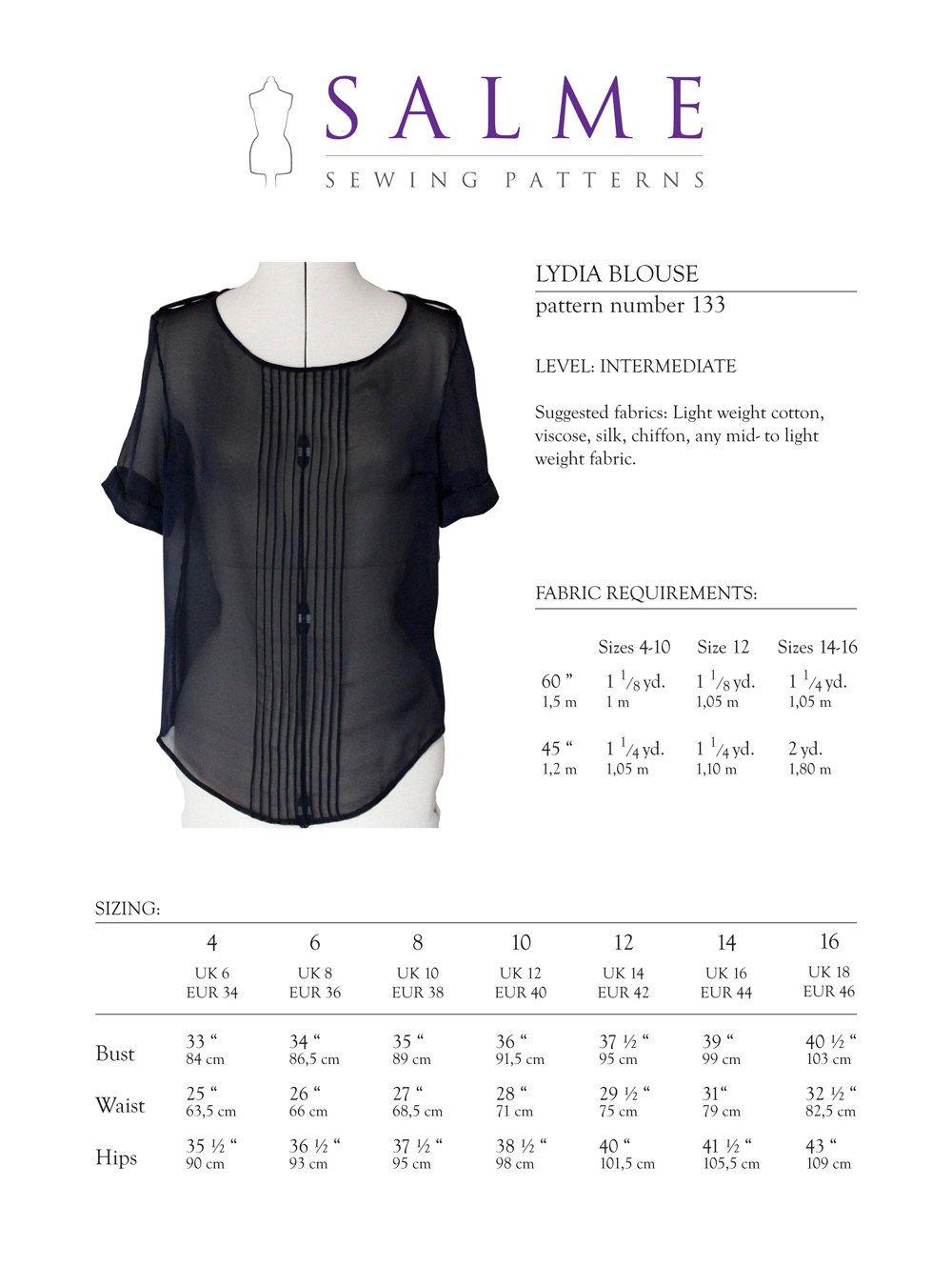 PDF Sewing pattern - Lydia Blouse. $7.00, via Etsy. | Sewing ...