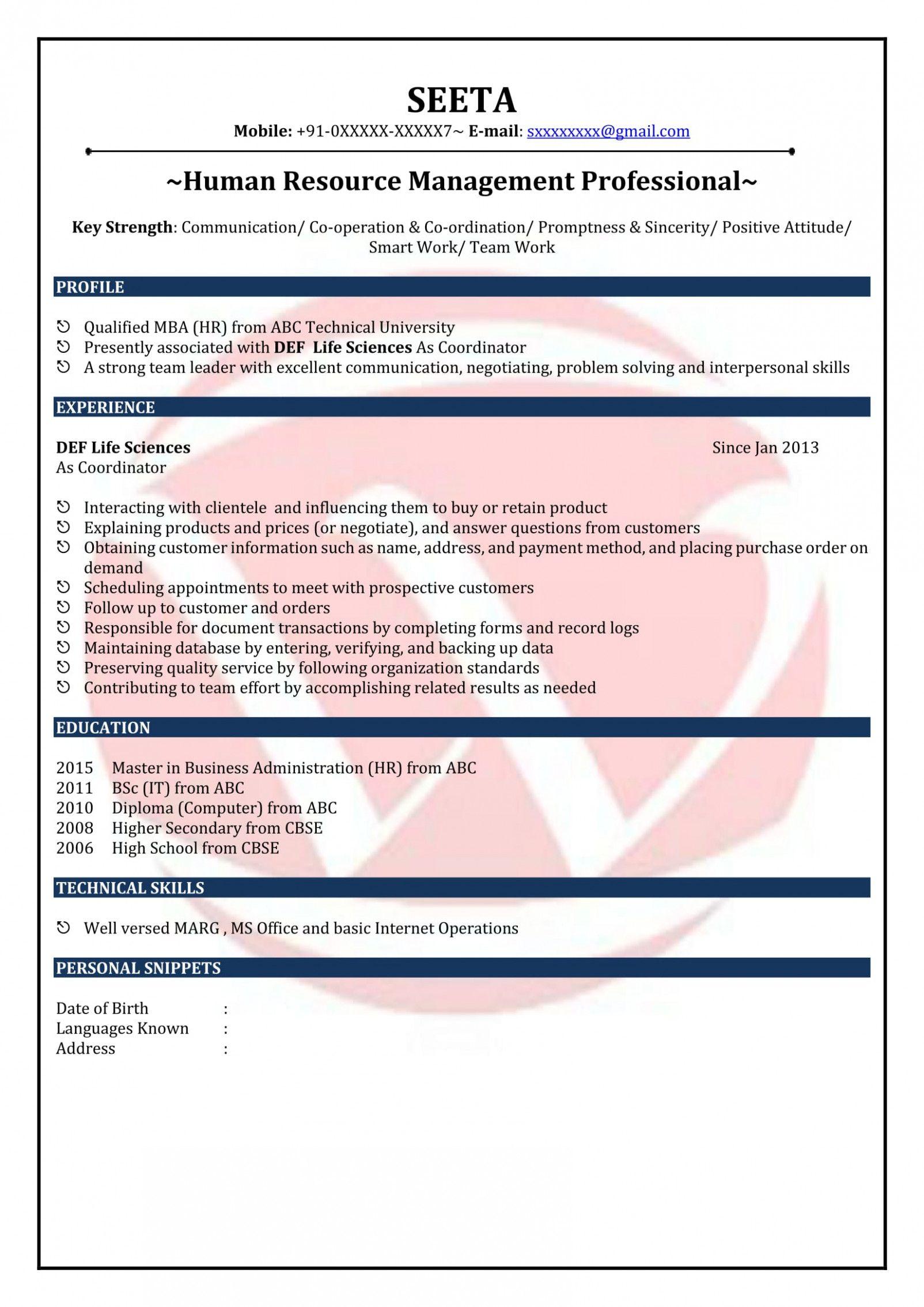 15 Resume Format For Academics Job In Tamilnadu