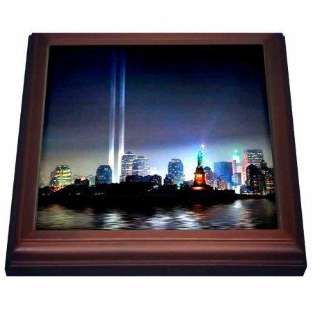 3dRose World Trade Center Lights, Trivet with Ceramic Tile, 8 by 8-inch