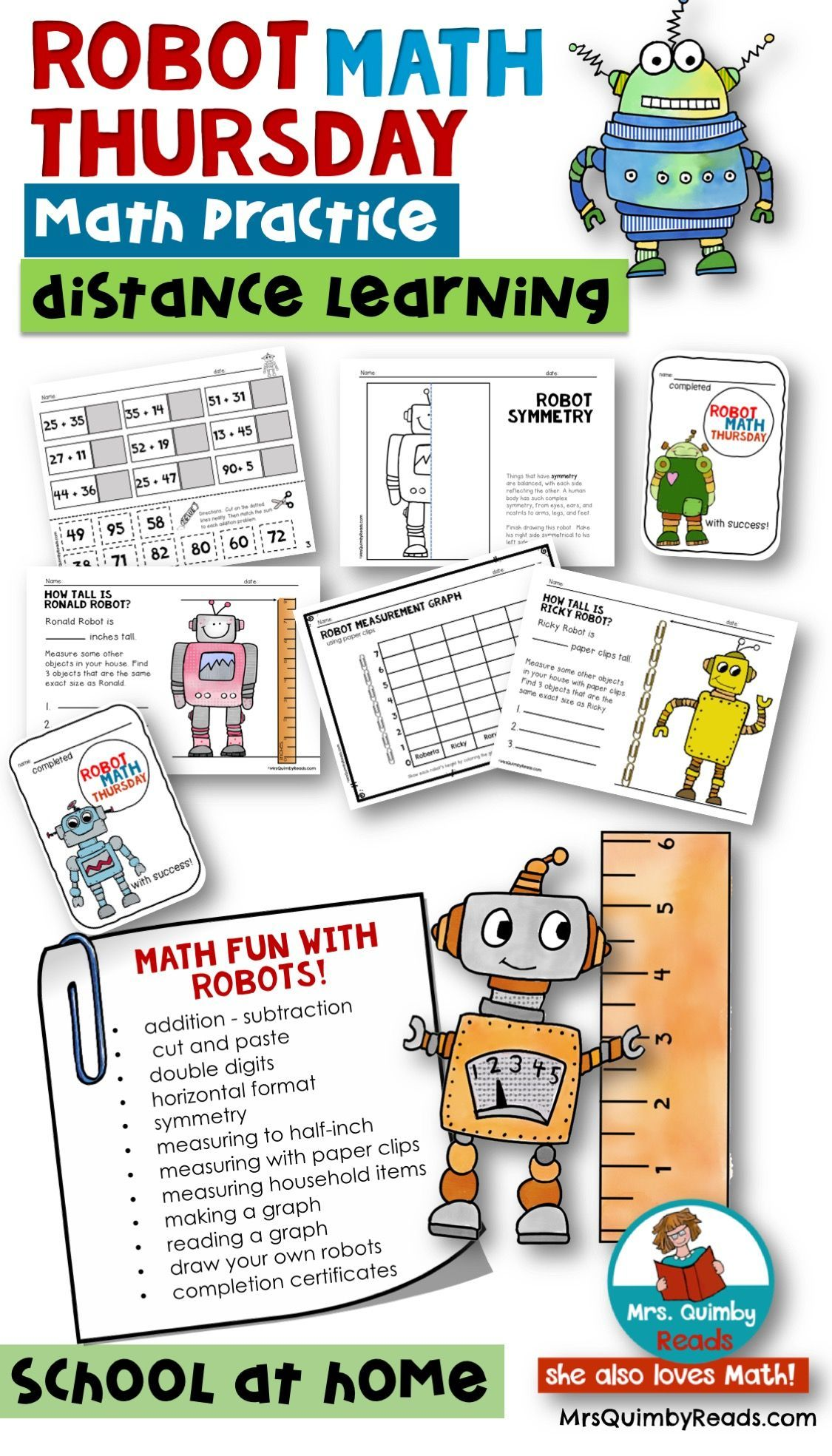 Robot Math Thursday Arithmetic Measurement Graphing Distance Learning Fun Math Math Distance Learning Measurement addition and subtraction