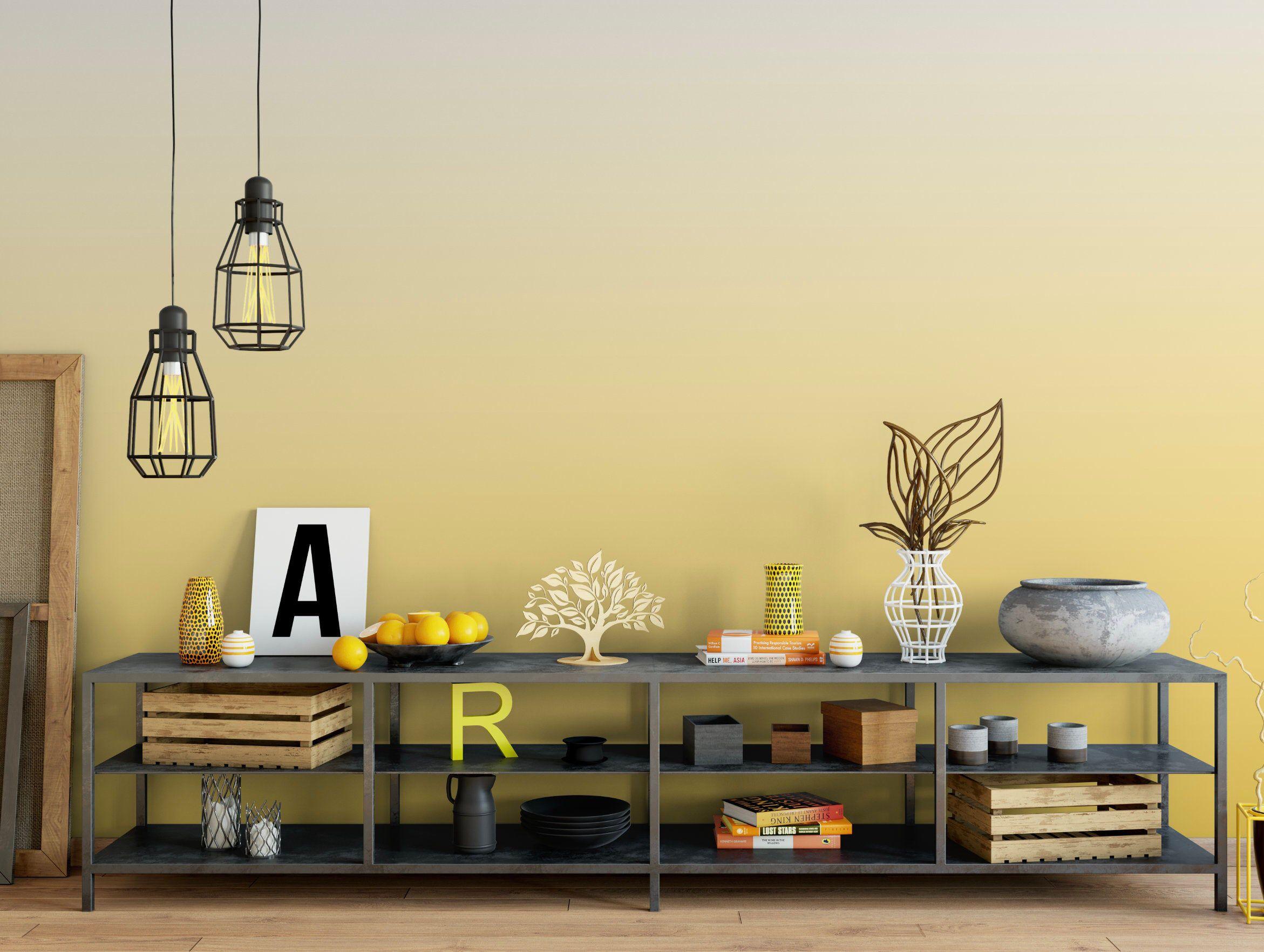 Lovely Lemon Ombre Removable Wallpaper, Soft Muted Dip Dye