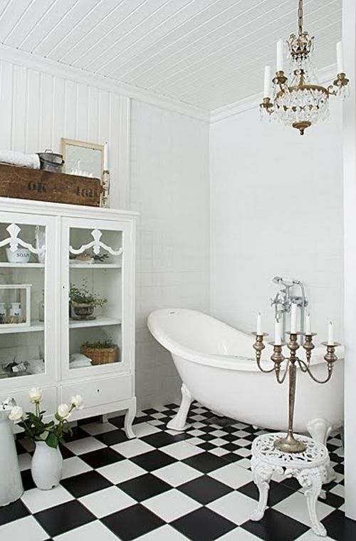 Black And White Checkered Bathroom Tiles Make This Room Amazing The Best Part Of Design Smaller Beneath Tub
