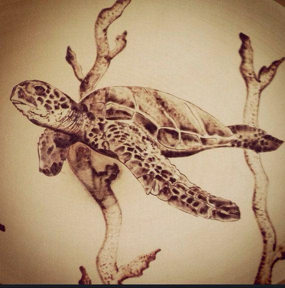 Woodburned Honu sea turtle pyrography  by LiveLoveSurfDesigns #burnedwoodstenciling