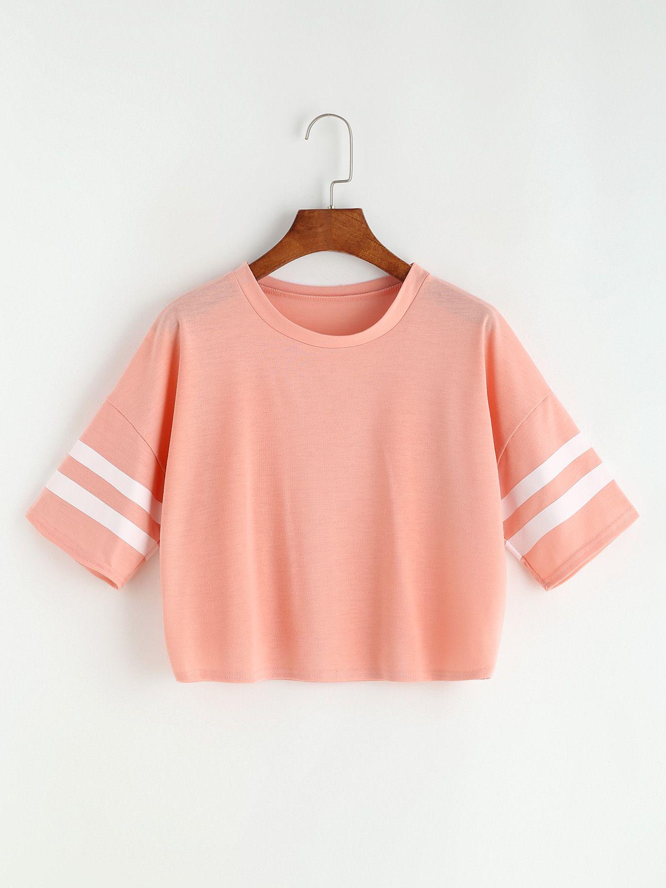 Pink Varsity Striped Drop Shoulder Crop T-shirt
