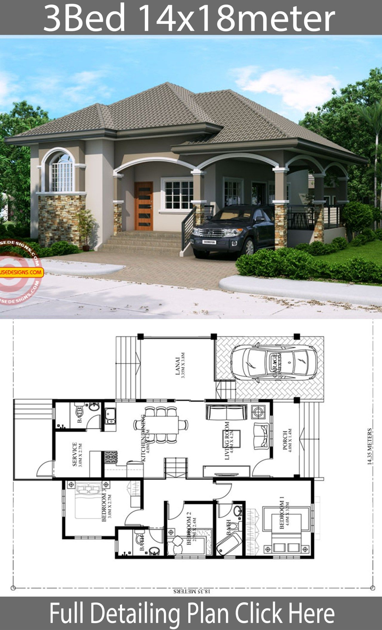 Home Design Plan 14x18m With 3 Bedrooms Home Ideas House Plan Gallery Bungalow House Plans Model House Plan