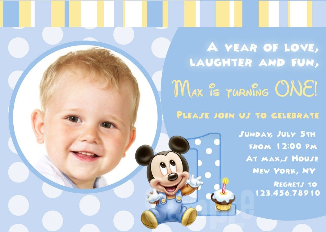 Mickey Mouse First Birthday Invitation Wording Ideas Drinks - Baby birthday invitation card wording