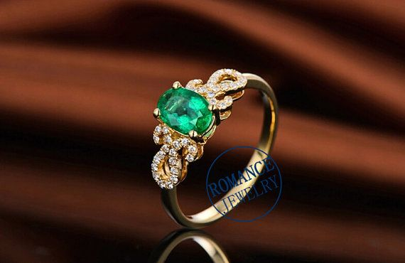 0.8ct Emerald Ring & 0.15ct Diamond Ring in 14k by ROMANCEJewelry