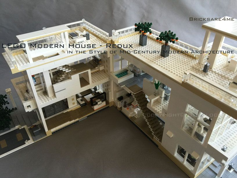 lego modern house redux in the style of mid century modern architecture by