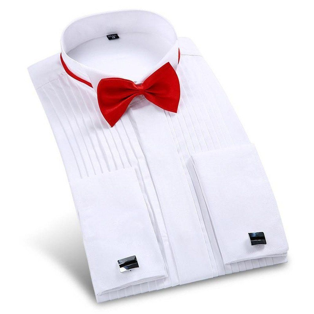 Wedding dress shirts for men  Men Dress Shirt Long Sleeve With Bow Tie  Cuff link  Products