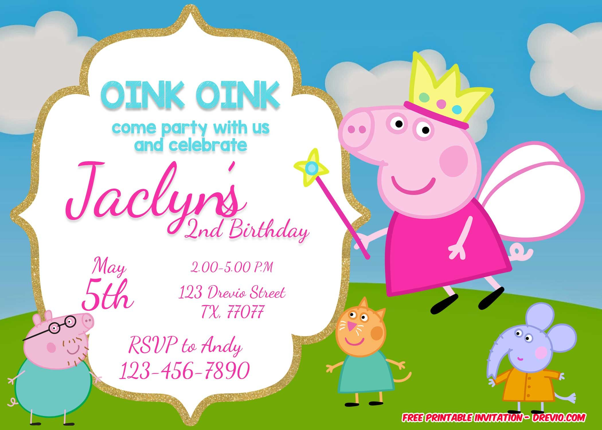 Free FREE Printable Peppa Pig Invitation Template