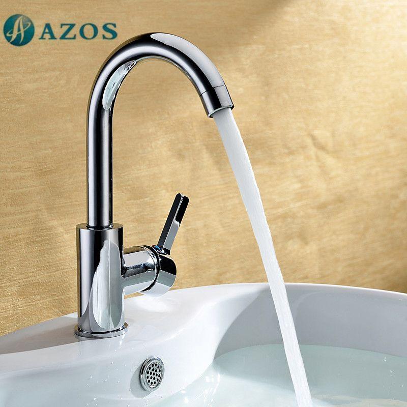 Azos Bathroom Basin Tap Brass Chrome Polish Color Single Hole Deck