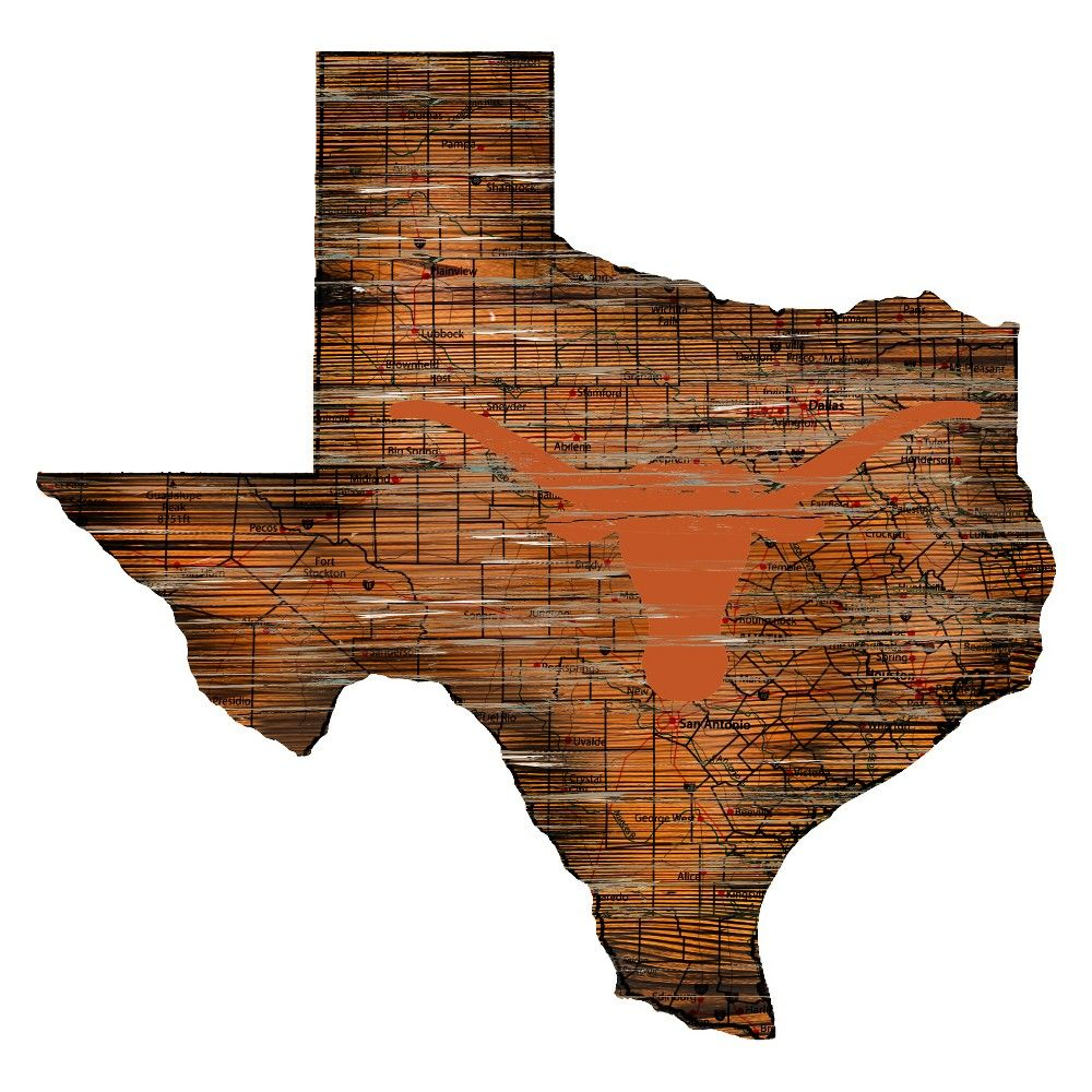 "NCAA Texas Longhorns 12"" State Map Wood Sign Longhorn"
