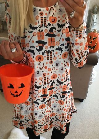 Halloween Pumpkin Ghost Casual Dress
