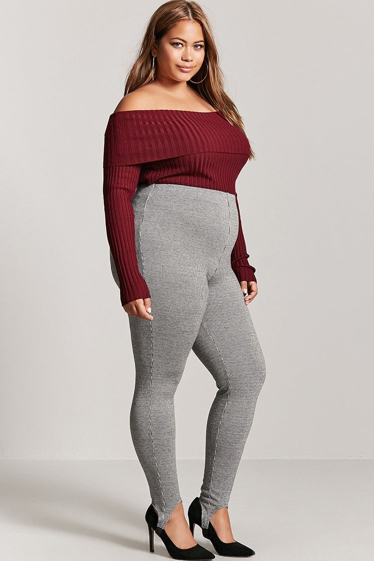 428aed8885eac Product Name:Plus Size Houndstooth Stirrup Leggings,  Category:plus_size-main, Price:17.9