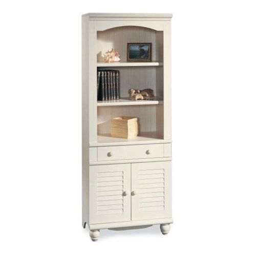 Sauder Harbor View Bookcase With Doors Antique White Home