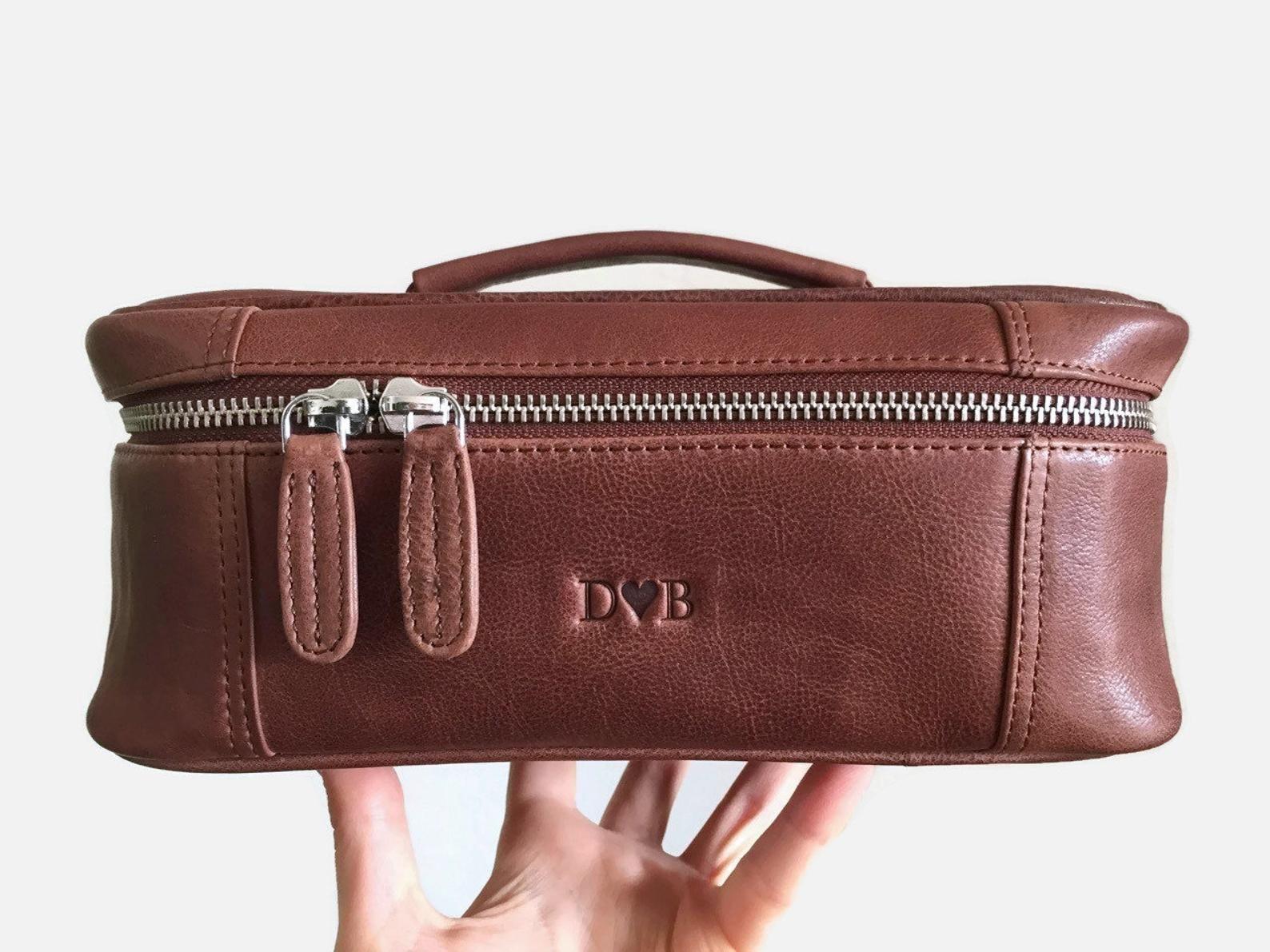 Monogrammed large toiletry bag Makeup bag leather