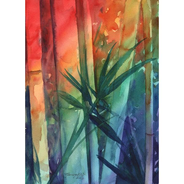 Bamboo Original Watercolor Paintings, Tropical leaf, kauaiartist,... ($119) ❤ liked on Polyvore featuring home, home decor, wall art, leaf home decor, unframed wall art, leaf wall art, leaf painting and bamboo wall art