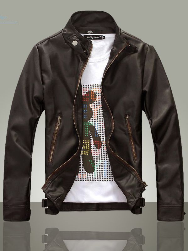 $36.75 -- Mens Leather Jacket Men Stylish Stand Collar Casual ...