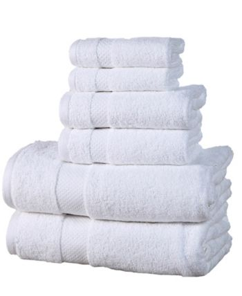 Elegance Spa Luxurious 600 Gsm Cotton 6 Piece Towel Set White