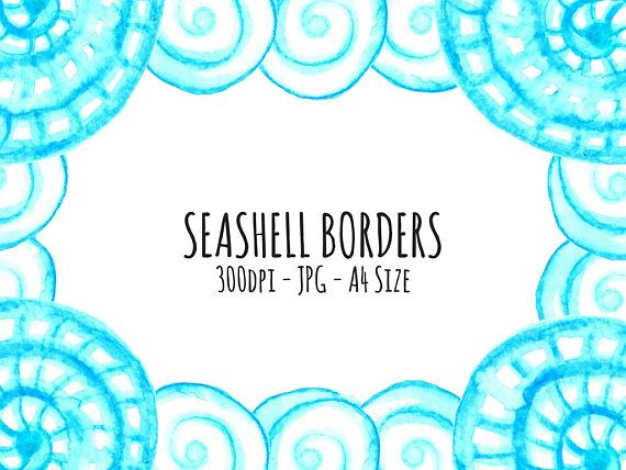 Seashell Borders, Ocean Stationery, Watercolour Stationery