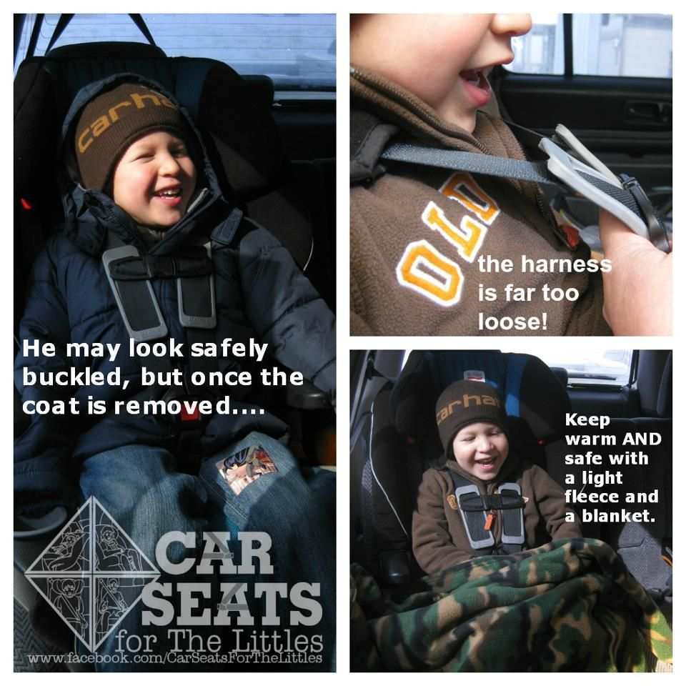 No coats in the car seat! The extra bulk will compress in a crash ...