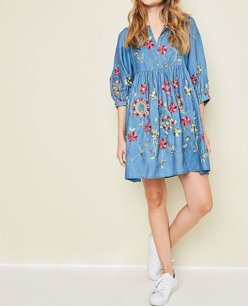 Womenus embroidered chambray dress my style pinterest chambray