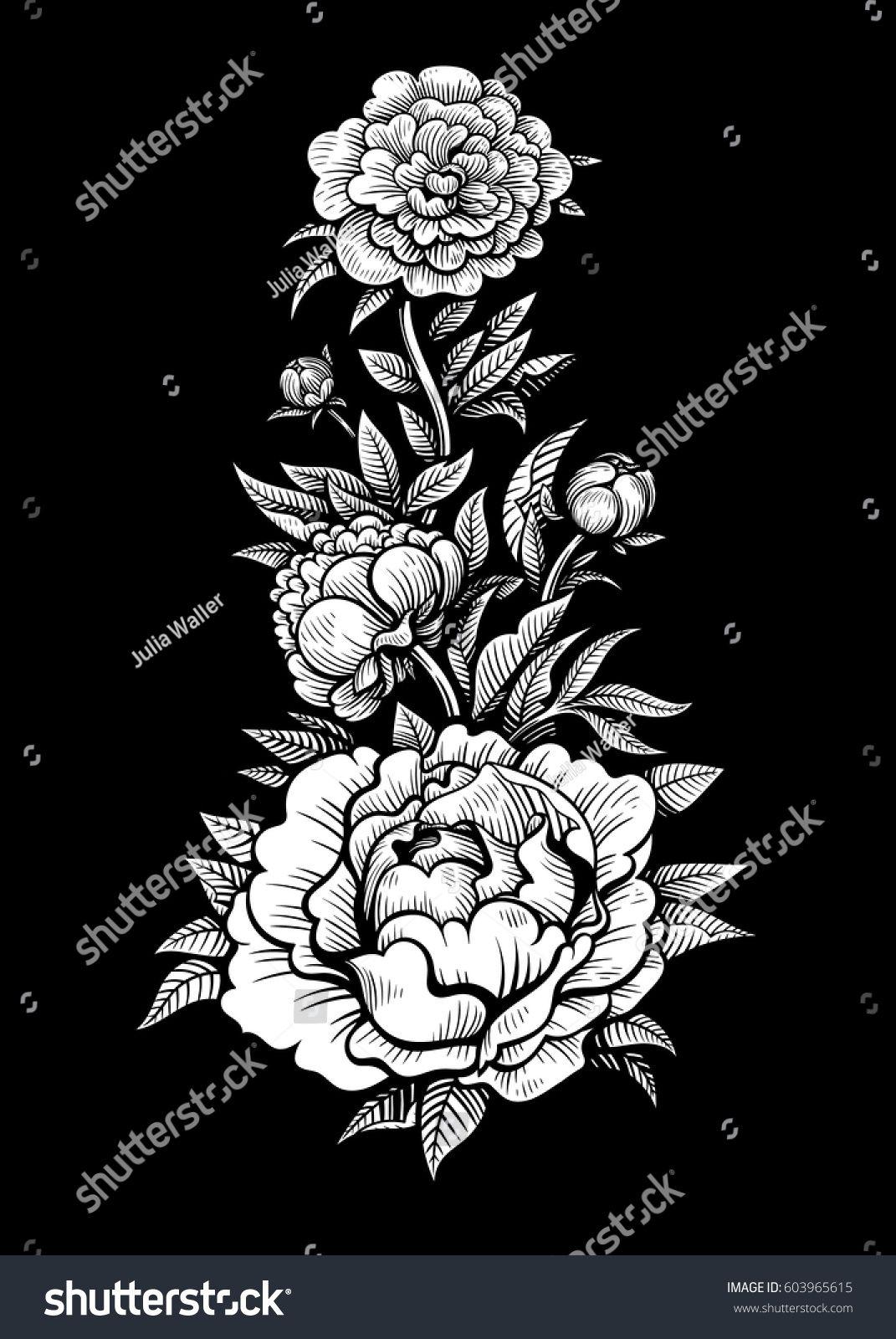 Vector De Flores Preto E Branco Tatuagem Em Fundo Preto