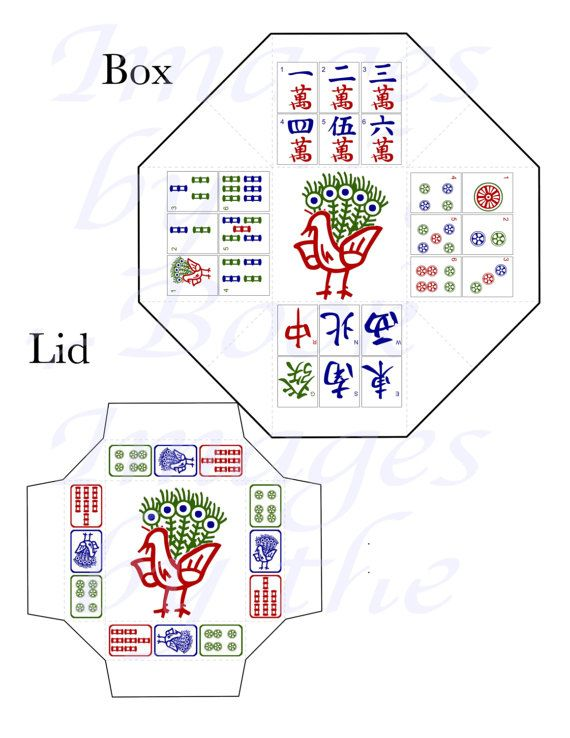 Chinese Mahjong Tile Images, PARTY FAVOR BOX and Lid Template, 2 ...