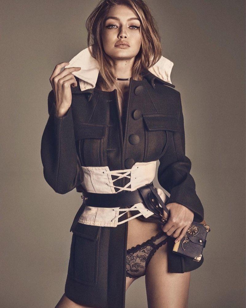 95687a5c19 Model Gigi Hadid wears Prada utility jacket with corset and bag for Vogue  Magazine Japan December 2016