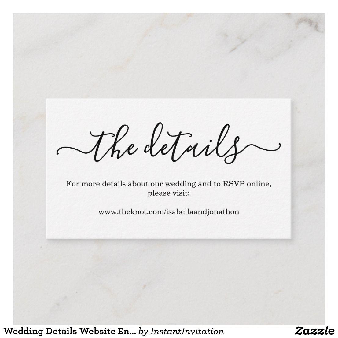 Wedding Details Website Enclosure Card Simple Zazzle Com In